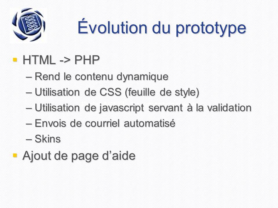 Projet AGEEI - Document de vision Évolution du prototype  HTML -> PHP –Rend le contenu dynamique –Utilisation de CSS (feuille de style) –Utilisation