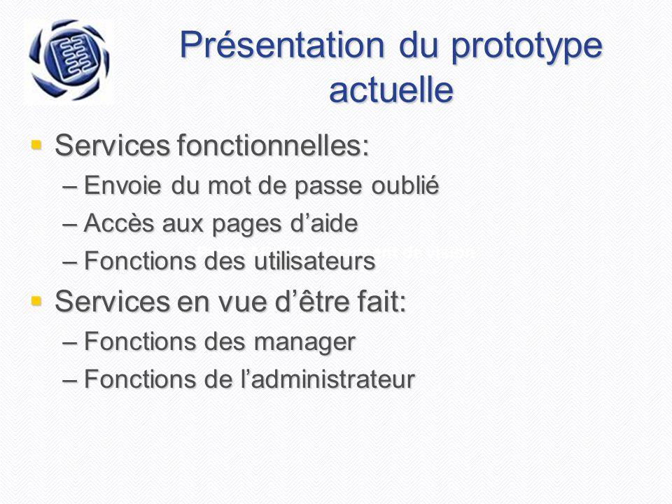 Projet AGEEI - Document de vision Présentation du prototype actuelle  Services fonctionnelles: –Envoie du mot de passe oublié –Accès aux pages d'aide