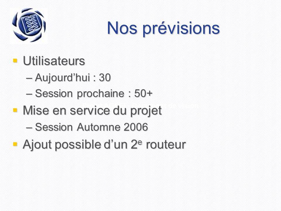 Projet AGEEI - Document de vision Nos prévisions  Utilisateurs –Aujourd'hui : 30 –Session prochaine : 50+  Mise en service du projet –Session Automn