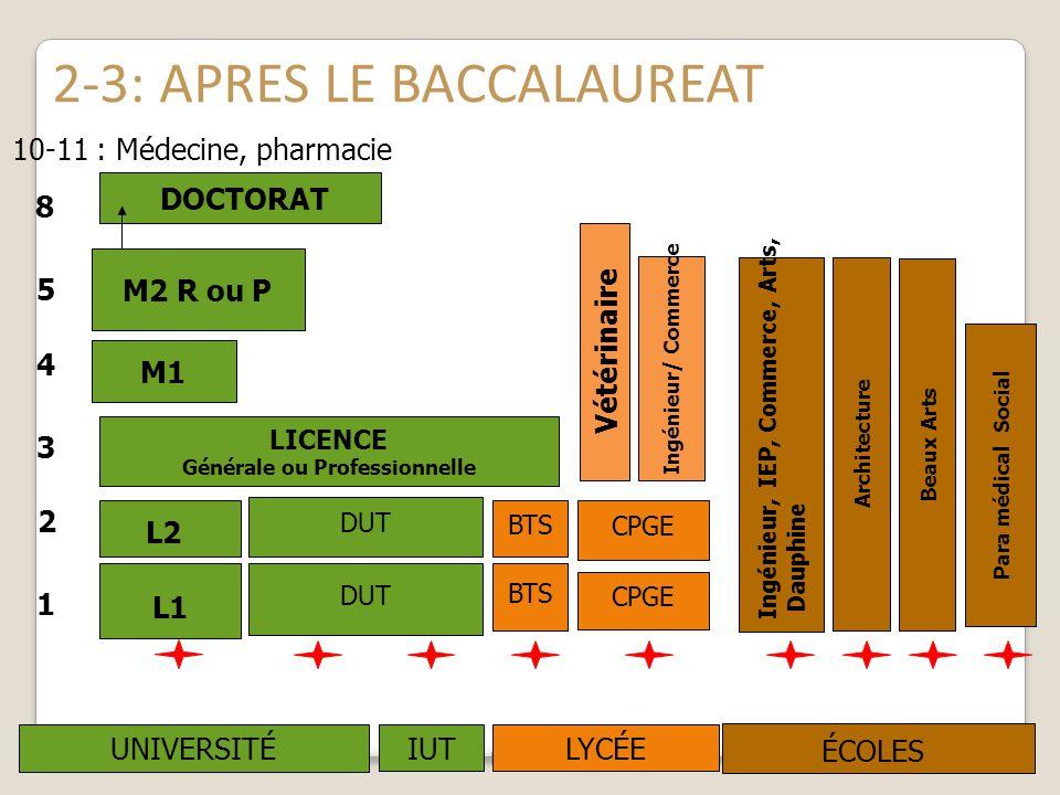 2-3: APRES LE BACCALAUREAT M.Kling CIO La-Celle-St-Cloud 200911 L2 LICENCE Générale ou Professionnelle M1 R MAS DOCTORAT UNIVERSITÉ Ecoles spécialisée