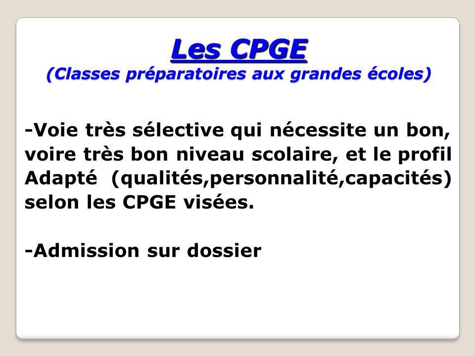 Les CPGE (Classes préparatoires aux grandes écoles) -Voie très sélective qui nécessite un bon, voire très bon niveau scolaire, et le profil Adapté (qu
