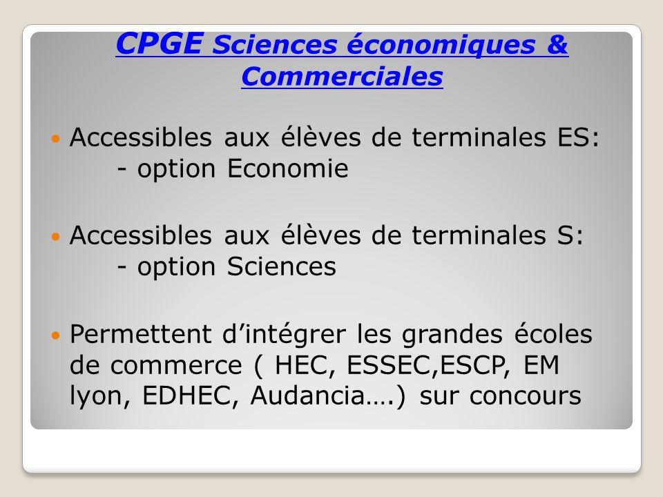 CPGE Sciences économiques & Commerciales Accessibles aux élèves de terminales ES: - option Economie Accessibles aux élèves de terminales S: - option S