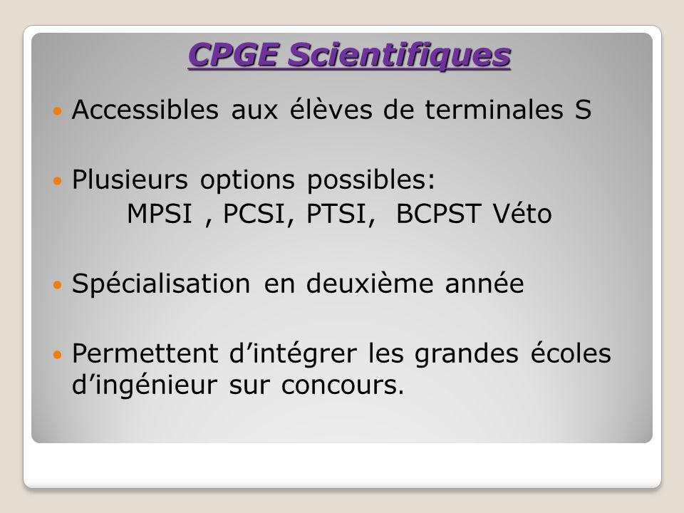 CPGE Scientifiques Accessibles aux élèves de terminales S Plusieurs options possibles: MPSI, PCSI, PTSI, BCPST Véto Spécialisation en deuxième année P