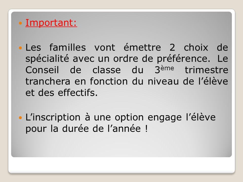 Important: Les familles vont émettre 2 choix de spécialité avec un ordre de préférence. Le Conseil de classe du 3 ème trimestre tranchera en fonction