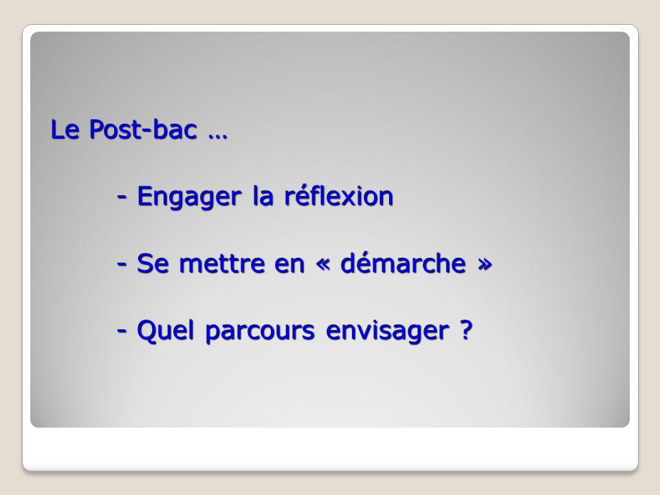 Le Post-bac … - Engager la réflexion - Se mettre en « démarche » - Se mettre en « démarche » - Quel parcours envisager ?