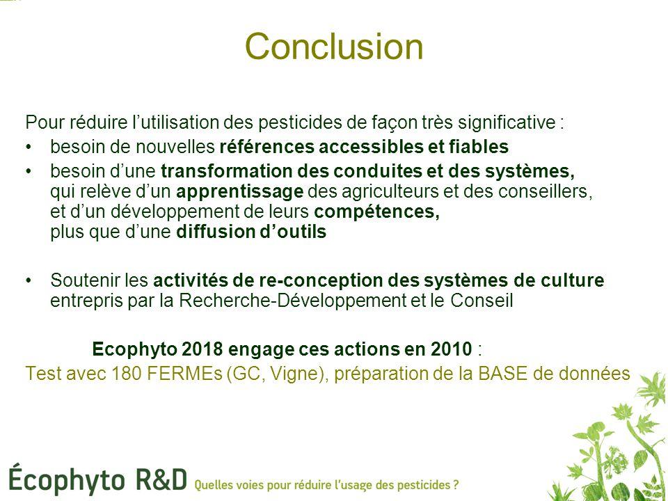 Conclusion Pour réduire l'utilisation des pesticides de façon très significative : besoin de nouvelles références accessibles et fiables besoin d'une transformation des conduites et des systèmes, qui relève d'un apprentissage des agriculteurs et des conseillers, et d'un développement de leurs compétences, plus que d'une diffusion d'outils Soutenir les activités de re-conception des systèmes de culture entrepris par la Recherche-Développement et le Conseil Ecophyto 2018 engage ces actions en 2010 : Test avec 180 FERMEs (GC, Vigne), préparation de la BASE de données