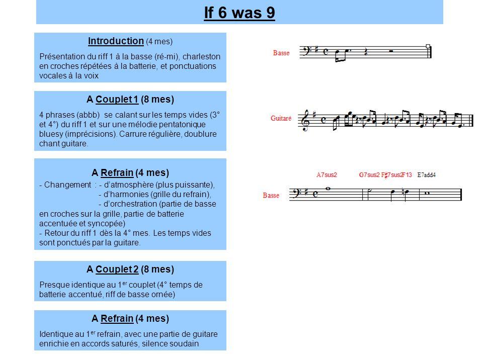 A Couplet 1 (8 mes) 4 phrases (abbb) se calant sur les temps vides (3° et 4°) du riff 1 et sur une mélodie pentatonique bluesy (imprécisions). Carrure