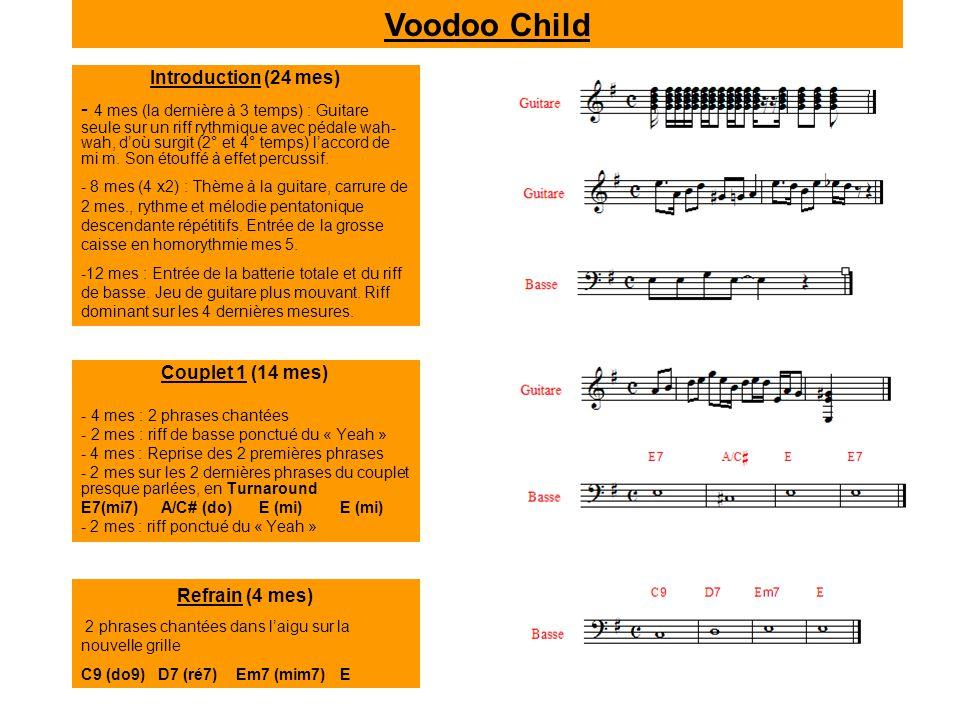 Couplet 1 (14 mes) - 4 mes : 2 phrases chantées - 2 mes : riff de basse ponctué du « Yeah » - 4 mes : Reprise des 2 premières phrases - 2 mes sur les