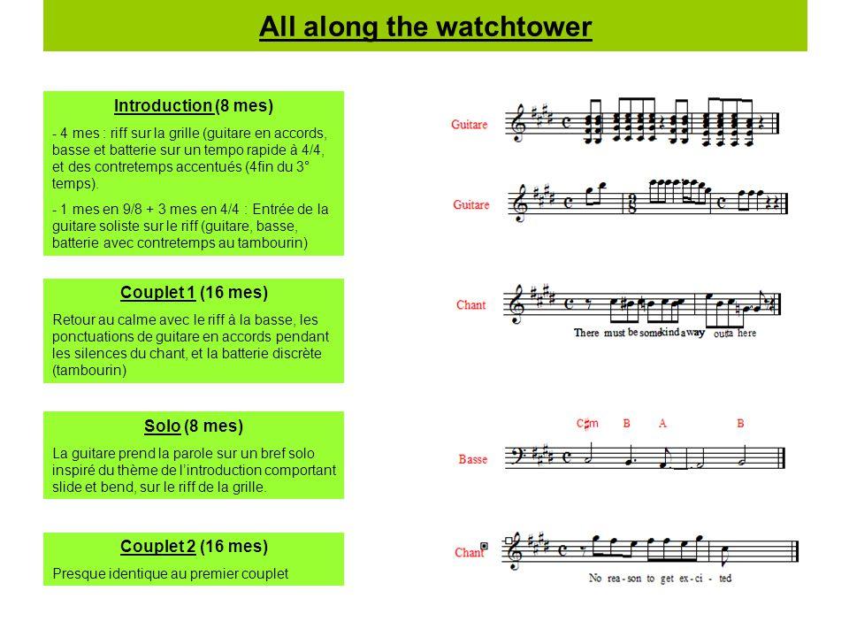All along the watchtower Introduction (8 mes) - 4 mes : riff sur la grille (guitare en accords, basse et batterie sur un tempo rapide à 4/4, et des co