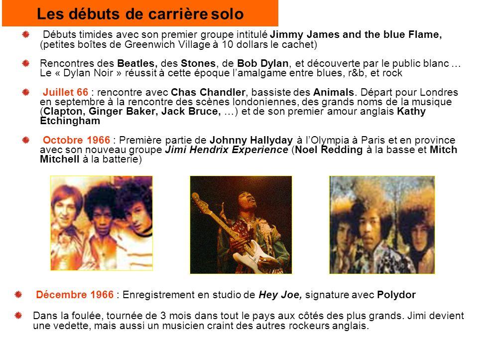 Les débuts de carrière solo Débuts timides avec son premier groupe intitulé Jimmy James and the blue Flame, (petites boîtes de Greenwich Village à 10