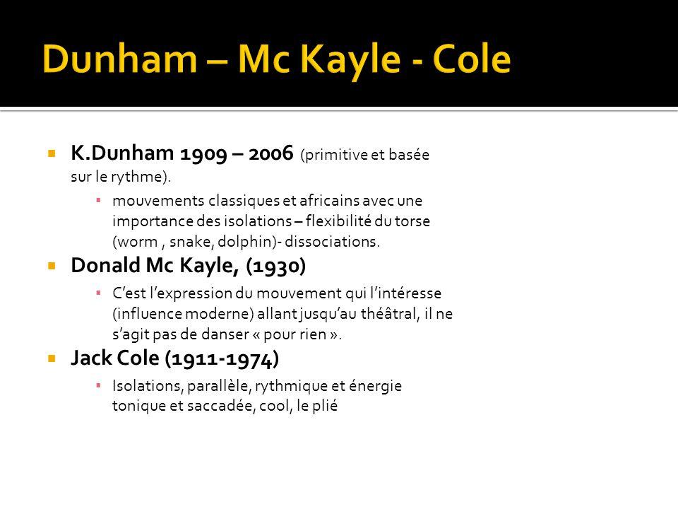  K.Dunham 1909 – 2006 (primitive et basée sur le rythme). ▪ mouvements classiques et africains avec une importance des isolations – flexibilité du to