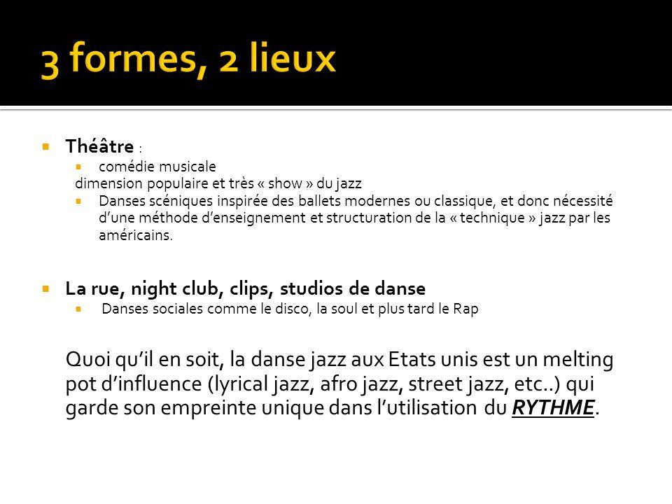  Théâtre :  comédie musicale dimension populaire et très « show » du jazz  Danses scéniques inspirée des ballets modernes ou classique, et donc néc