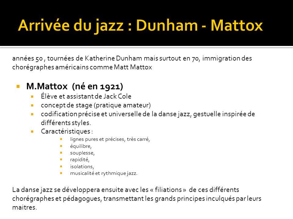 années 50, tournées de Katherine Dunham mais surtout en 70, immigration des chorégraphes américains comme Matt Mattox  M.Mattox (né en 1921)  Élève et assistant de Jack Cole  concept de stage (pratique amateur)  codification précise et universelle de la danse jazz, gestuelle inspirée de différents styles.