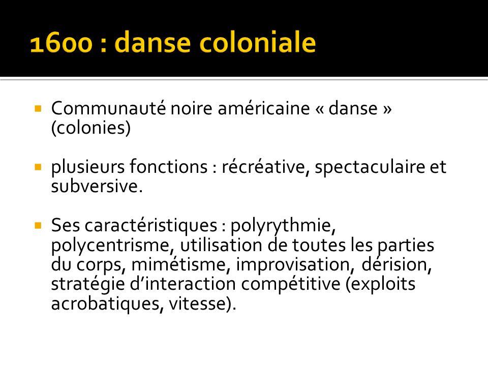  Communauté noire américaine « danse » (colonies)  plusieurs fonctions : récréative, spectaculaire et subversive.