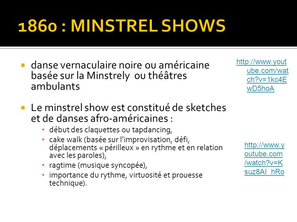 danse vernaculaire noire ou américaine basée sur la Minstrely ou théâtres ambulants  Le minstrel show est constitué de sketches et de danses afro-a