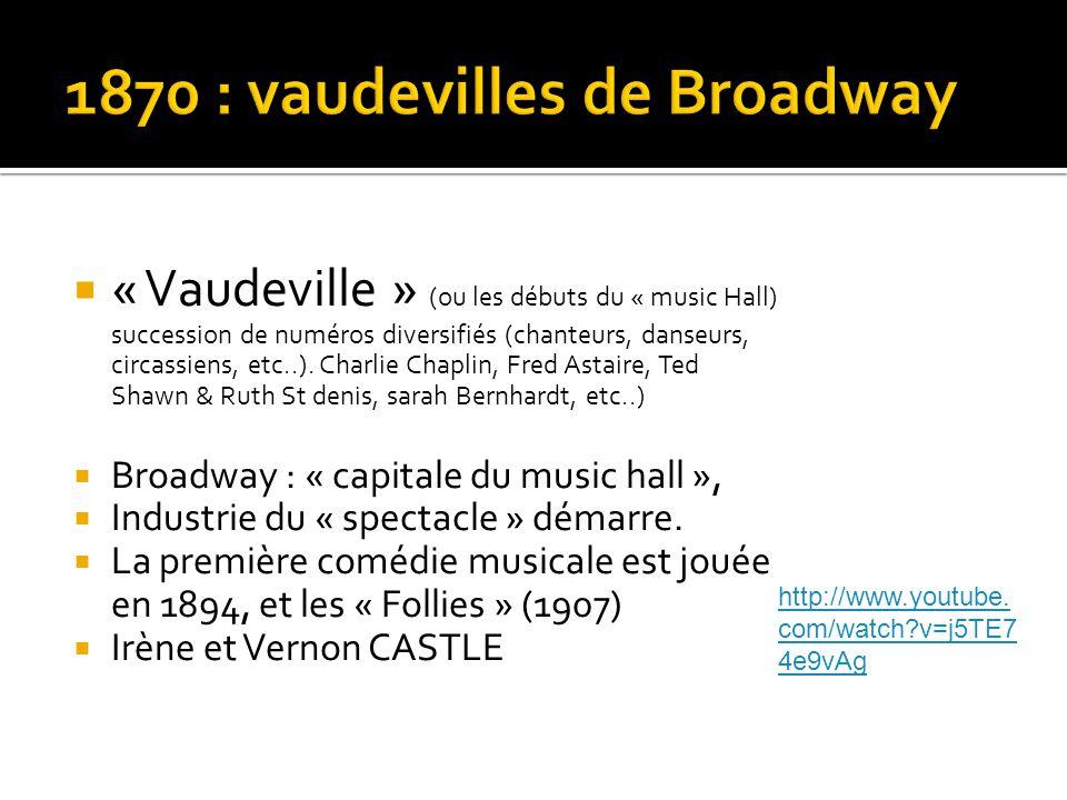 « Vaudeville » (ou les débuts du « music Hall) succession de numéros diversifiés (chanteurs, danseurs, circassiens, etc..).