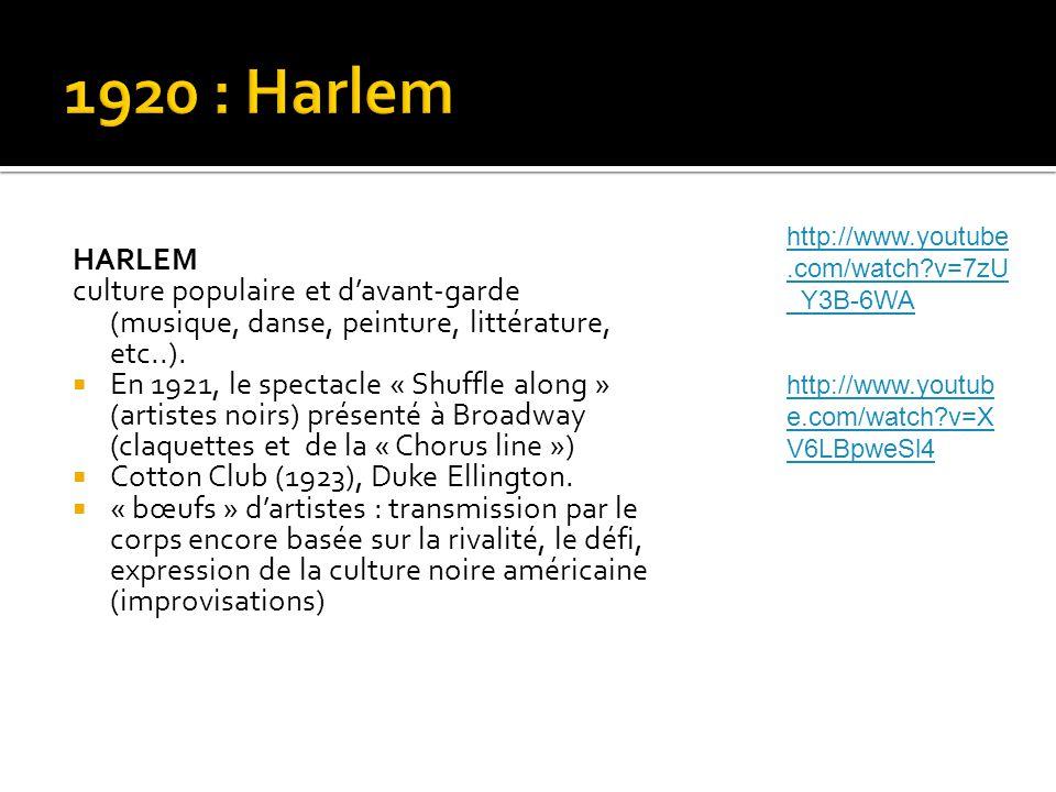 HARLEM culture populaire et d'avant-garde (musique, danse, peinture, littérature, etc..).  En 1921, le spectacle « Shuffle along » (artistes noirs) p
