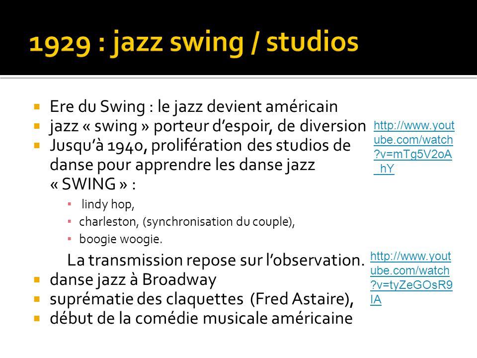  Ere du Swing : le jazz devient américain  jazz « swing » porteur d'espoir, de diversion  Jusqu'à 1940, prolifération des studios de danse pour apprendre les danse jazz « SWING » : ▪ lindy hop, ▪ charleston, (synchronisation du couple), ▪ boogie woogie.