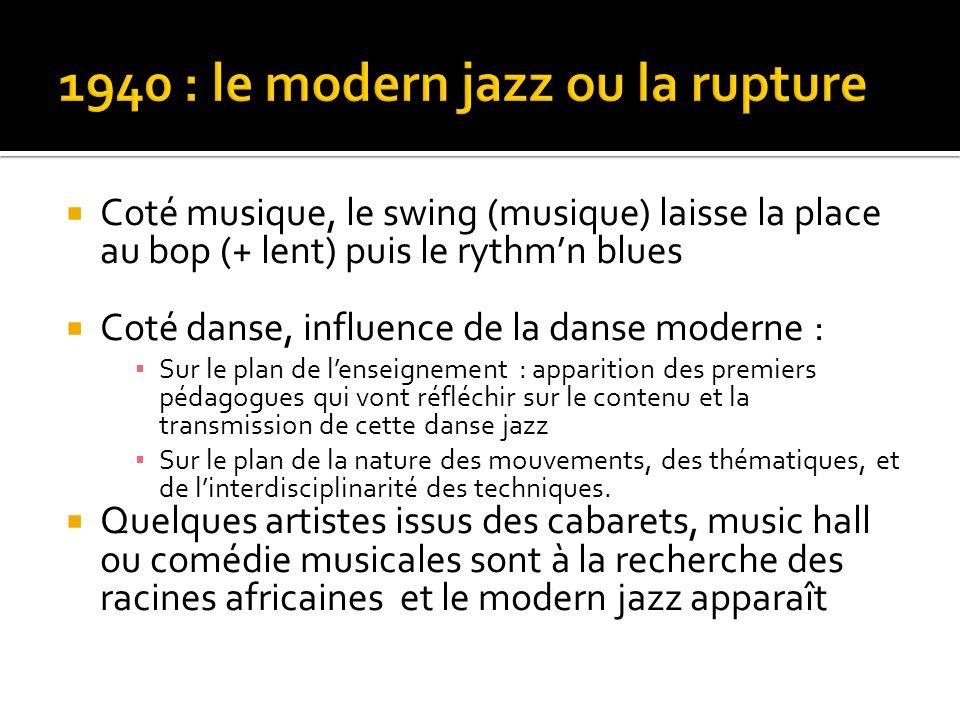  Coté musique, le swing (musique) laisse la place au bop (+ lent) puis le rythm'n blues  Coté danse, influence de la danse moderne : ▪ Sur le plan d