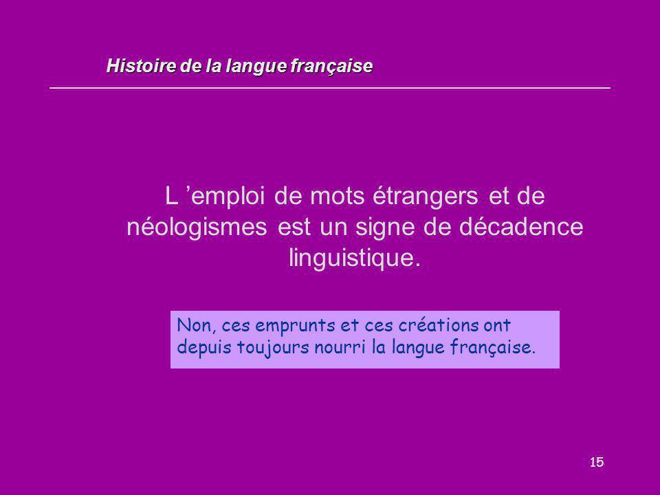15 L 'emploi de mots étrangers et de néologismes est un signe de décadence linguistique. Vrai / Faux ? Non, ces emprunts et ces créations ont depuis t