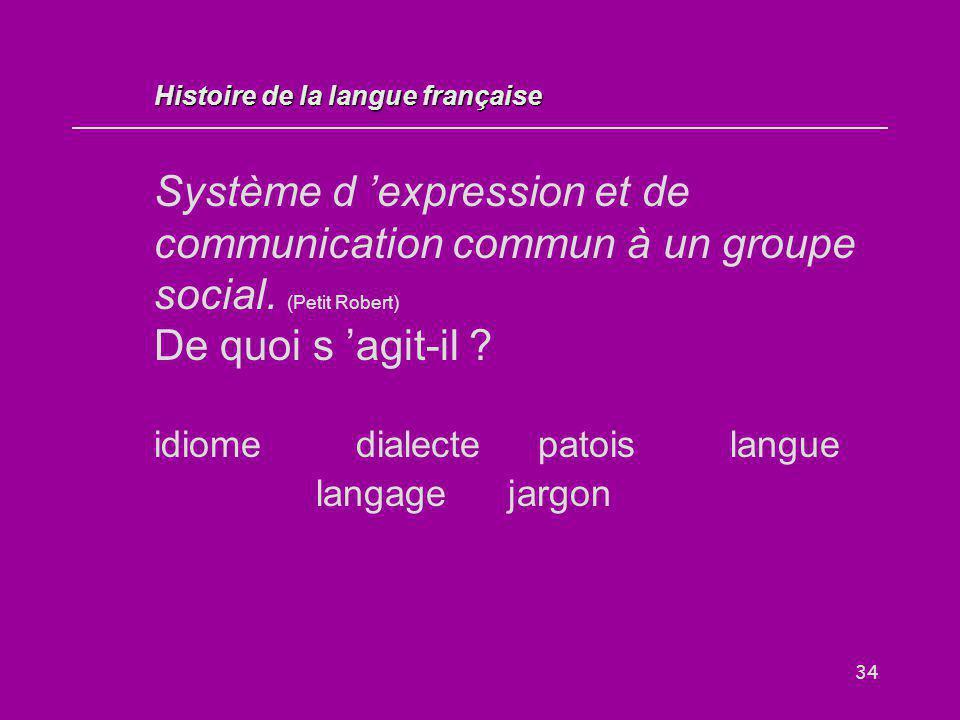 34 Système d 'expression et de communication commun à un groupe social. (Petit Robert) De quoi s 'agit-il ? idiome dialectepatoislangue langage jargon