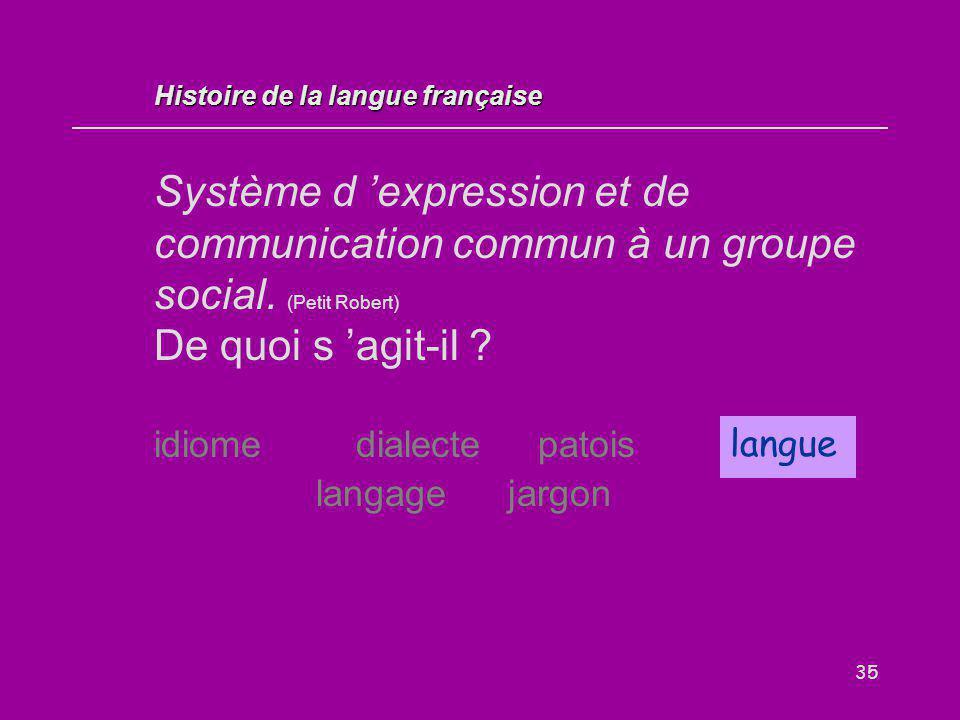 35 Système d 'expression et de communication commun à un groupe social. (Petit Robert) De quoi s 'agit-il ? idiome dialectepatoislangue langage jargon