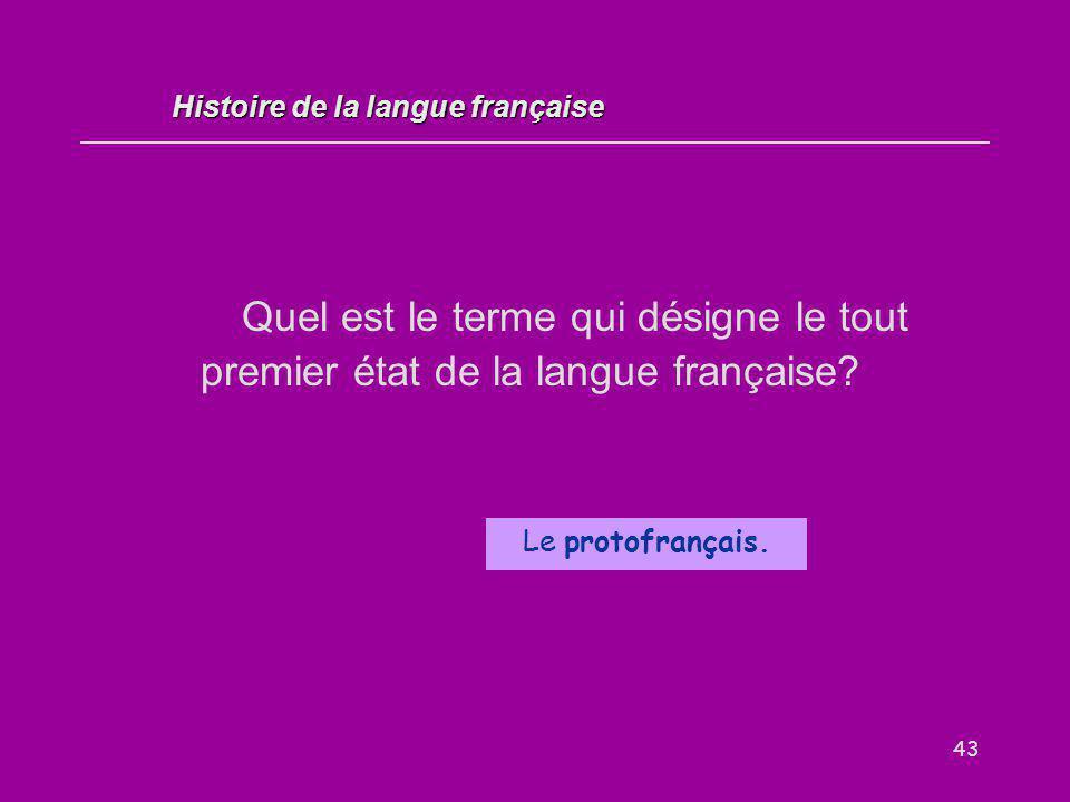 43 Quel est le terme qui désigne le tout premier état de la langue française? Le protofrançais. Histoire de la langue française