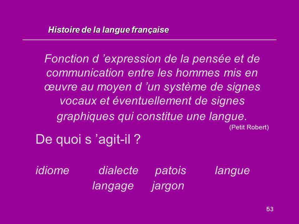 53 Fonction d 'expression de la pensée et de communication entre les hommes mis en œuvre au moyen d 'un système de signes vocaux et éventuellement de