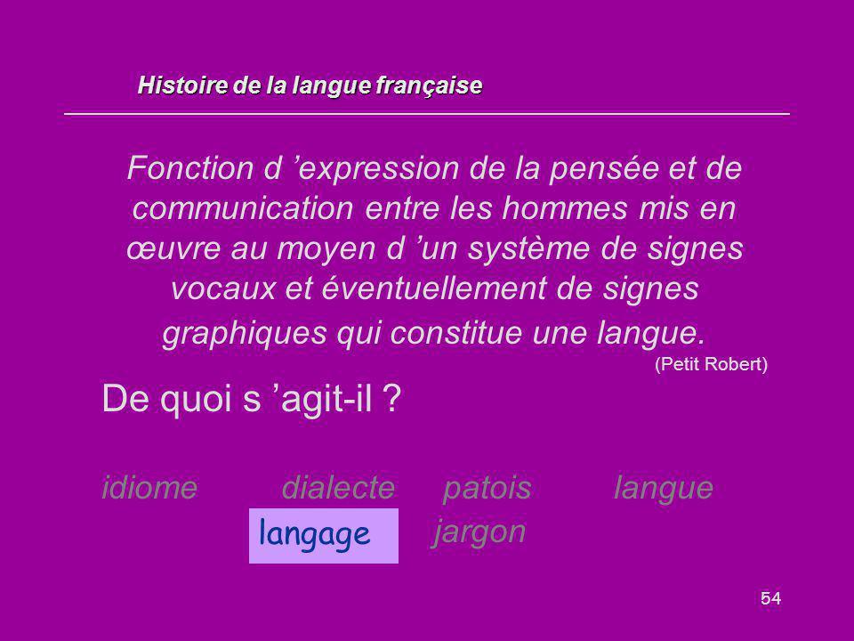 54 Fonction d 'expression de la pensée et de communication entre les hommes mis en œuvre au moyen d 'un système de signes vocaux et éventuellement de