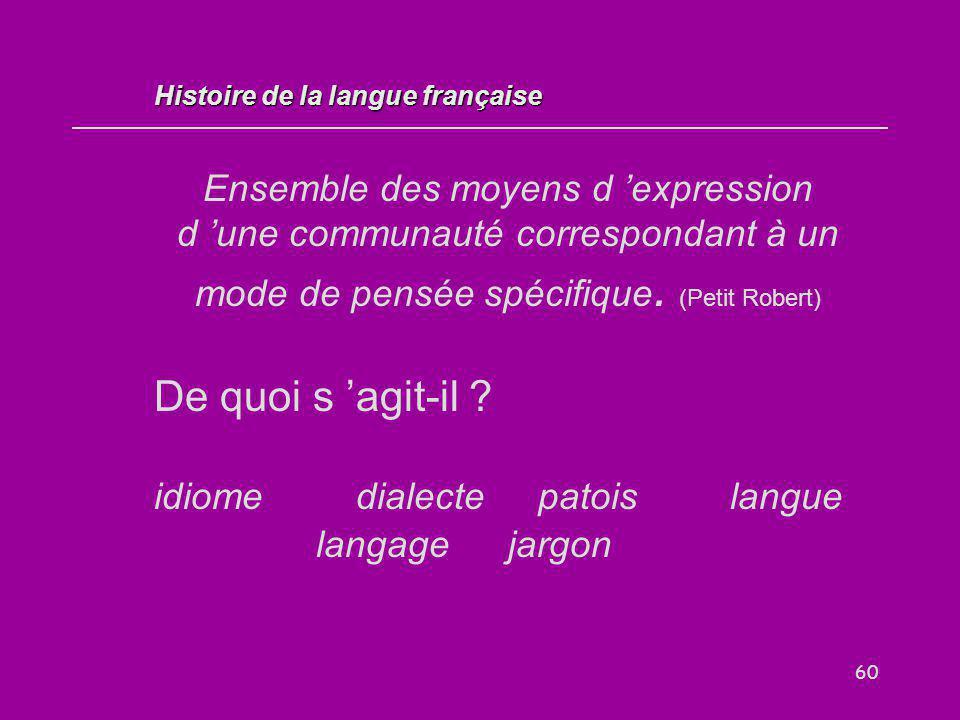 60 Ensemble des moyens d 'expression d 'une communauté correspondant à un mode de pensée spécifique. (Petit Robert) De quoi s 'agit-il ? idiome dialec