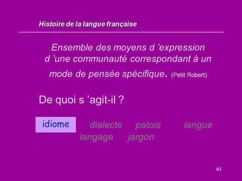 61 Ensemble des moyens d 'expression d 'une communauté correspondant à un mode de pensée spécifique. (Petit Robert) De quoi s 'agit-il ? idiome dialec