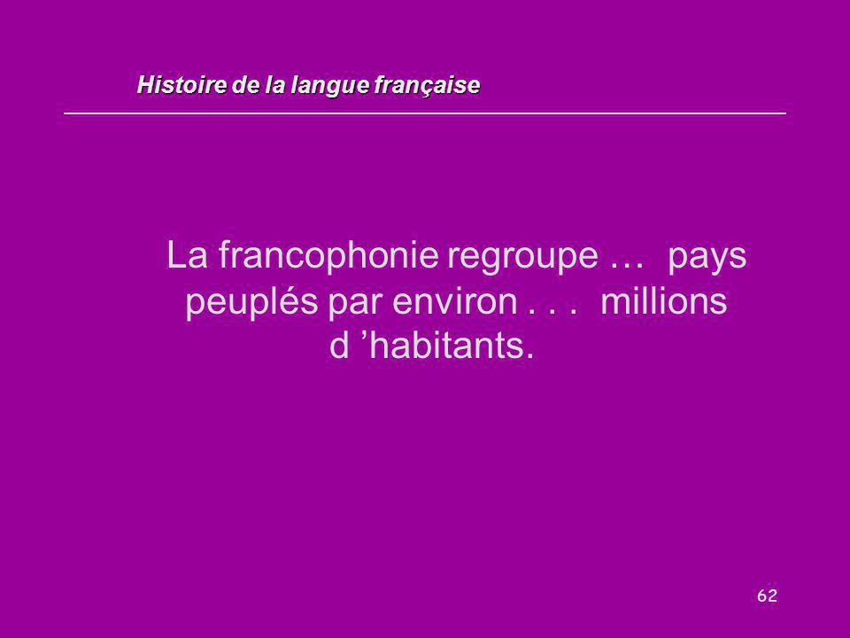 62 La francophonie regroupe … pays peuplés par environ... millions d 'habitants. Histoire de la langue française