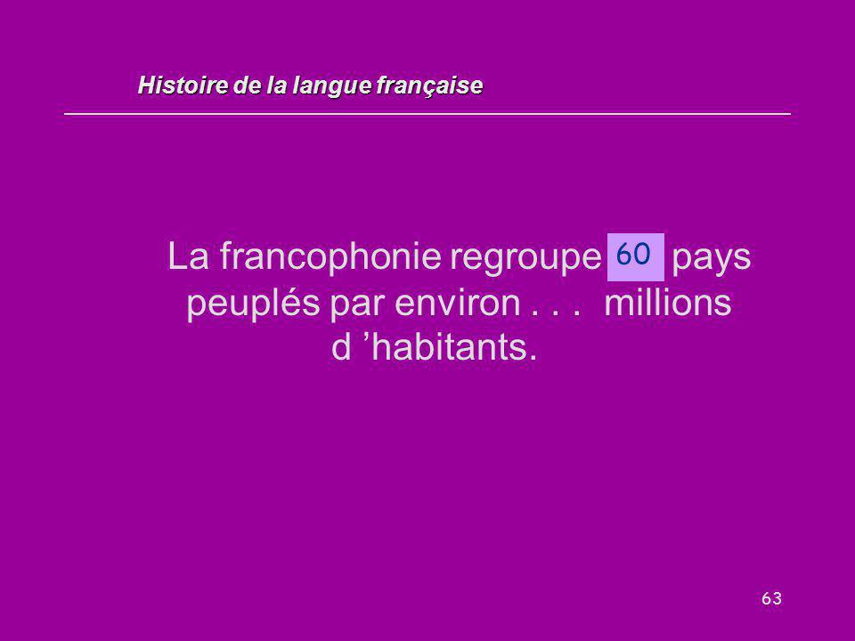 63 La francophonie regroupe … pays peuplés par environ... millions d 'habitants. 60 Histoire de la langue française
