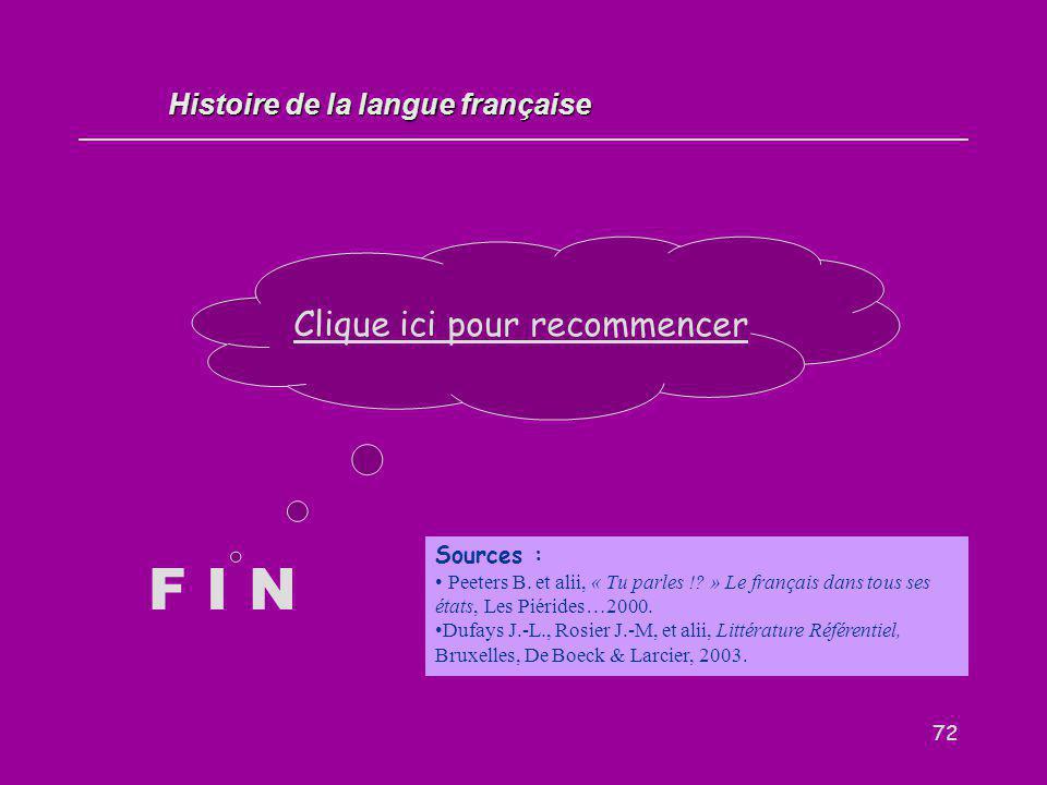 72 F I N Clique ici pour recommencer Histoire de la langue française Sources : Peeters B. et alii, « Tu parles !? » Le français dans tous ses états, L