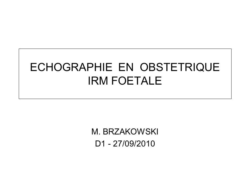 ECHOGRAPHIE EN OBSTETRIQUE IRM FOETALE M. BRZAKOWSKI D1 - 27/09/2010