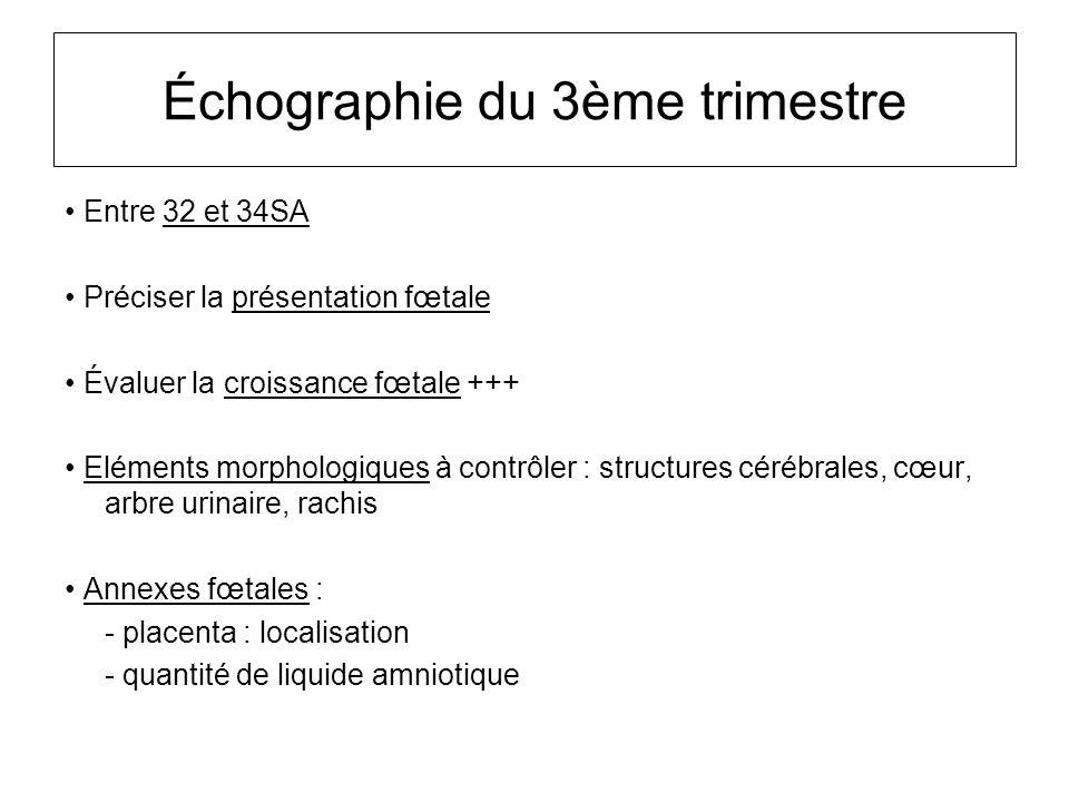 Échographie du 3ème trimestre Entre 32 et 34SA Préciser la présentation fœtale Évaluer la croissance fœtale +++ Eléments morphologiques à contrôler :
