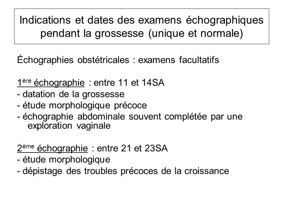 Indications et dates des examens échographiques pendant la grossesse (unique et normale) Échographies obstétricales : examens facultatifs 1 ère échogr