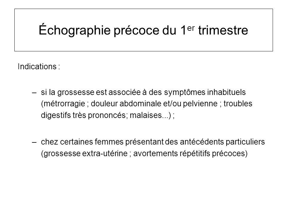 Échographie précoce du 1 er trimestre Indications : –si la grossesse est associée à des symptômes inhabituels (métrorragie ; douleur abdominale et/ou