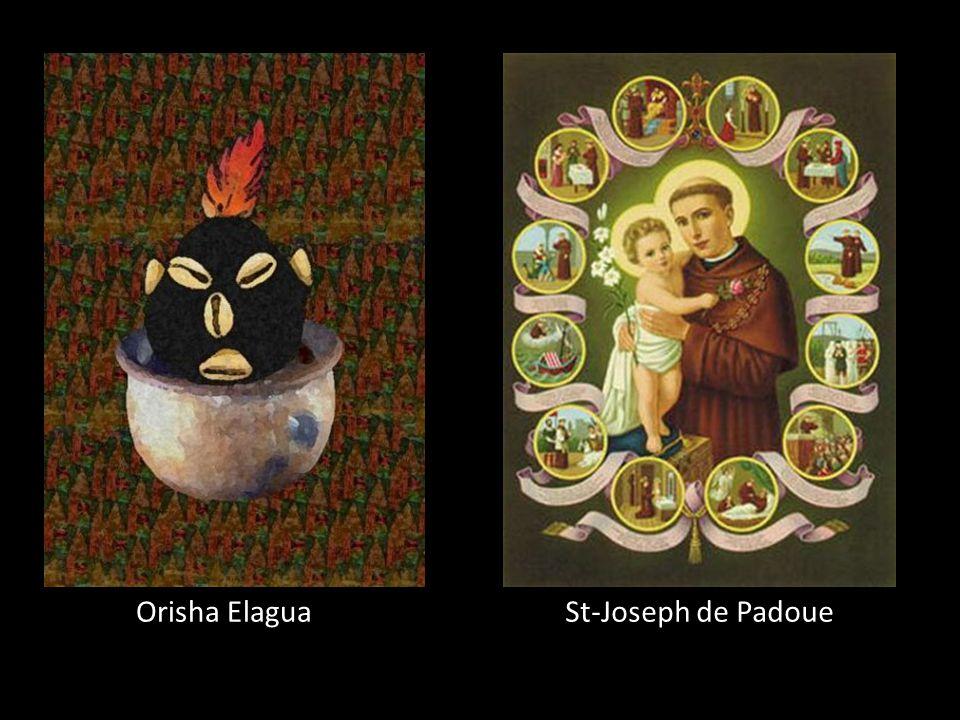 Orisha Elagua Dieu du: Destin, chance et hasard Couleur: Rouge et noir Fête: premier janvier Saint équivalent: St-Antoine de Padoue