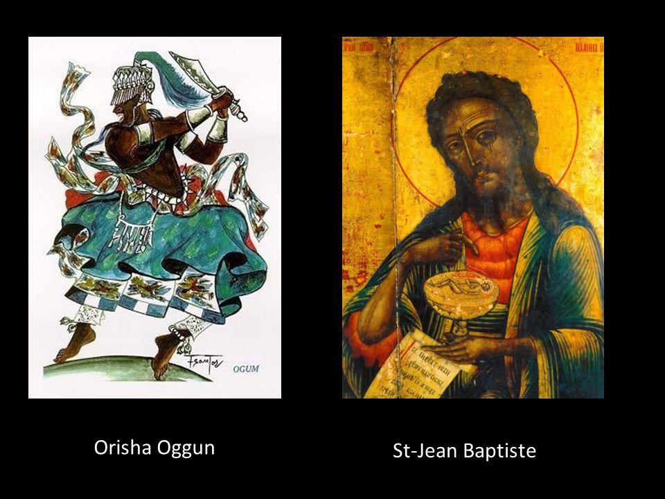 Orisha Oggun Dieu de: La guerre, fer et technologie Couleur: Violet, vert et noir Fête: 24 juin Saint équivalent: St-Jean Baptiste