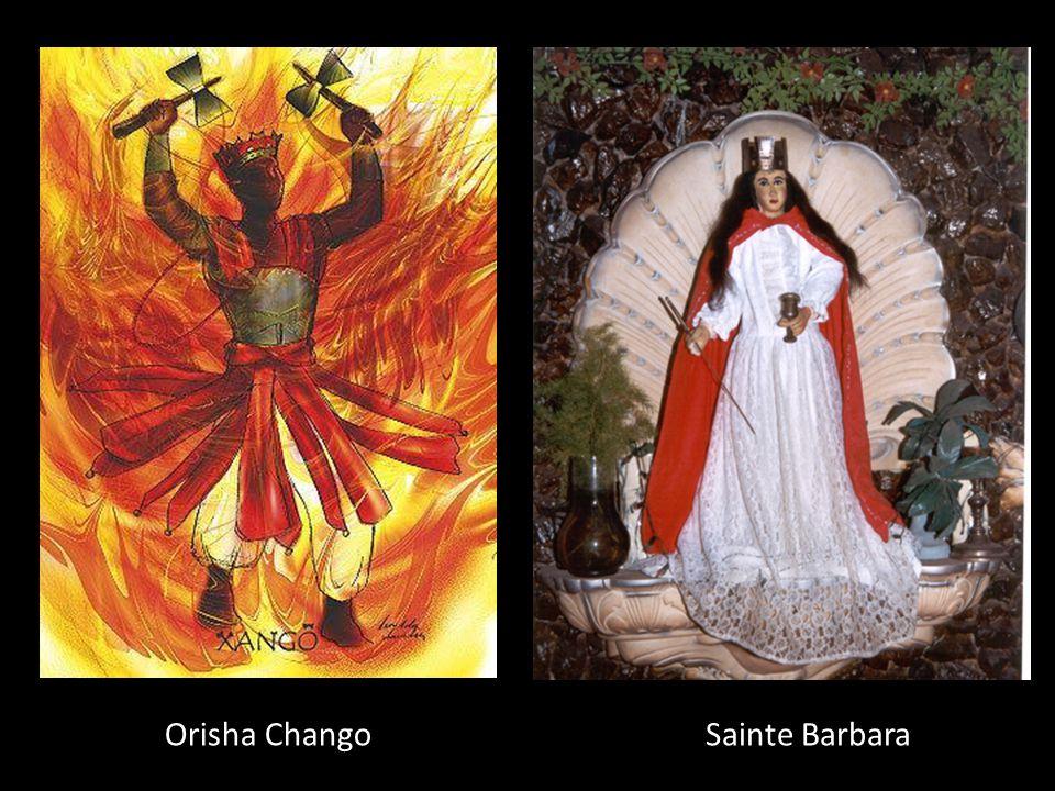 Orisha Chango Dieu de : De la danse, du tambour, de l'amour viril, de la foudre, du tonnerre et de la guerre. Couleur : Rouge et blanc Fête: 4 décembr