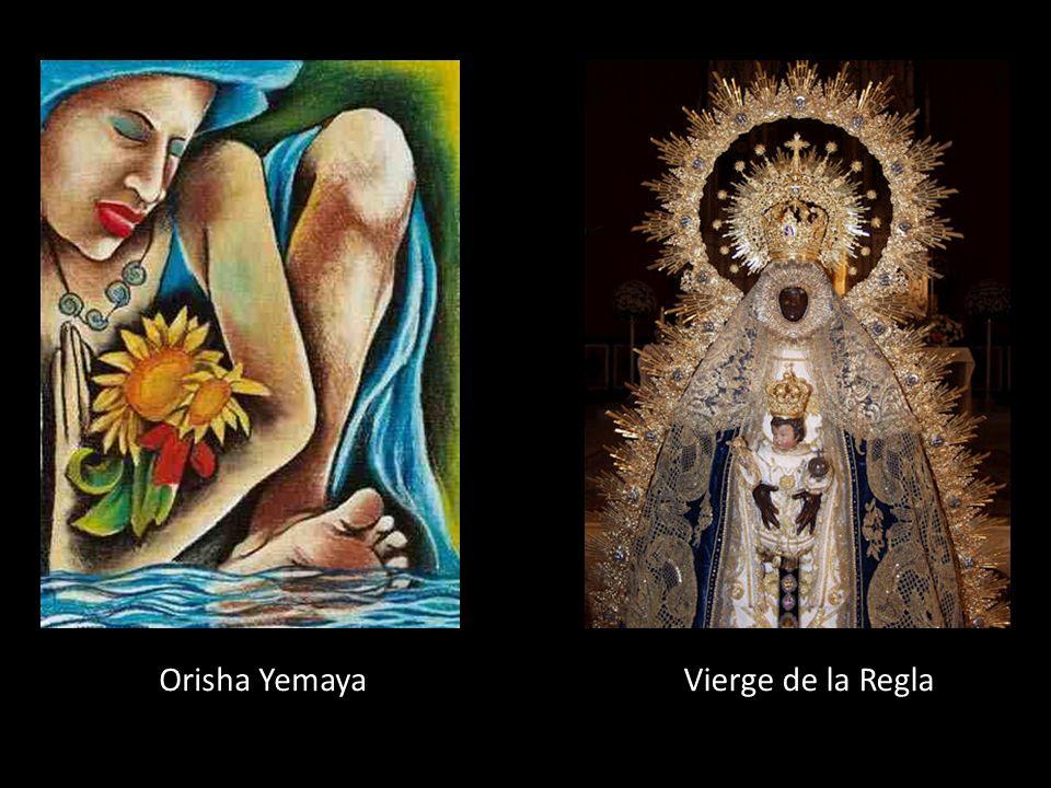 Orisha Yemaya Déesse de: Une sirène qui personnifie la mer et la vie Couleur: Bleu bordé de blanc Fête: 8 sept. Sainte équivalente : Vierge de la Regl