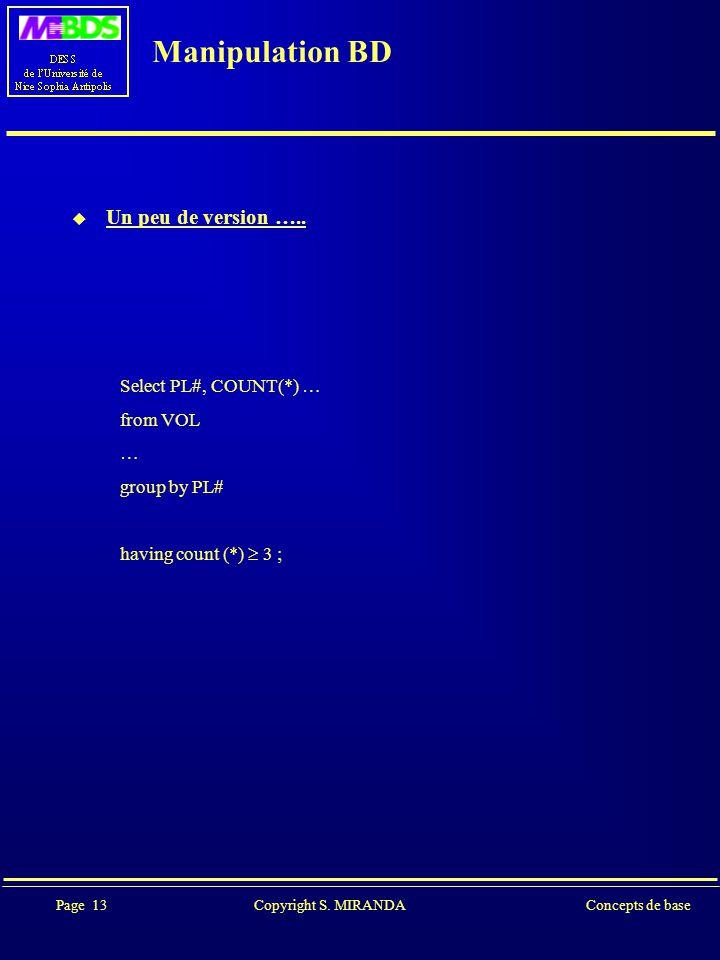 Page 13 Copyright S. MIRANDAConcepts de base Manipulation BD  Un peu de version …..