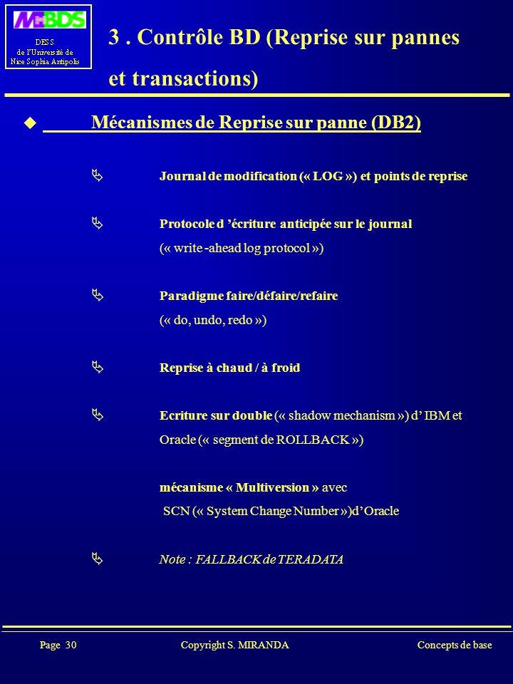 Page 30 Copyright S. MIRANDAConcepts de base 3.