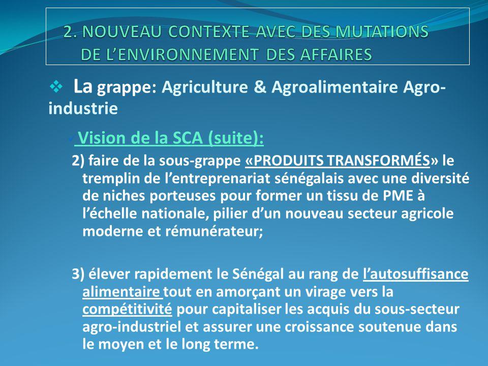  La grappe: Agriculture & Agroalimentaire Agro- industrie Vision de la SCA (suite): 2) faire de la sous-grappe «PRODUITS TRANSFORMÉS» le tremplin de