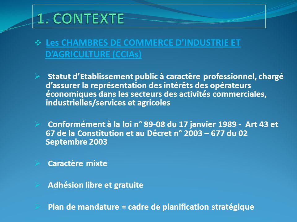  Les CHAMBRES DE COMMERCE D'INDUSTRIE ET D'AGRICULTURE (CCIAs)  Statut d'Etablissement public à caractère professionnel, chargé d'assurer la représe