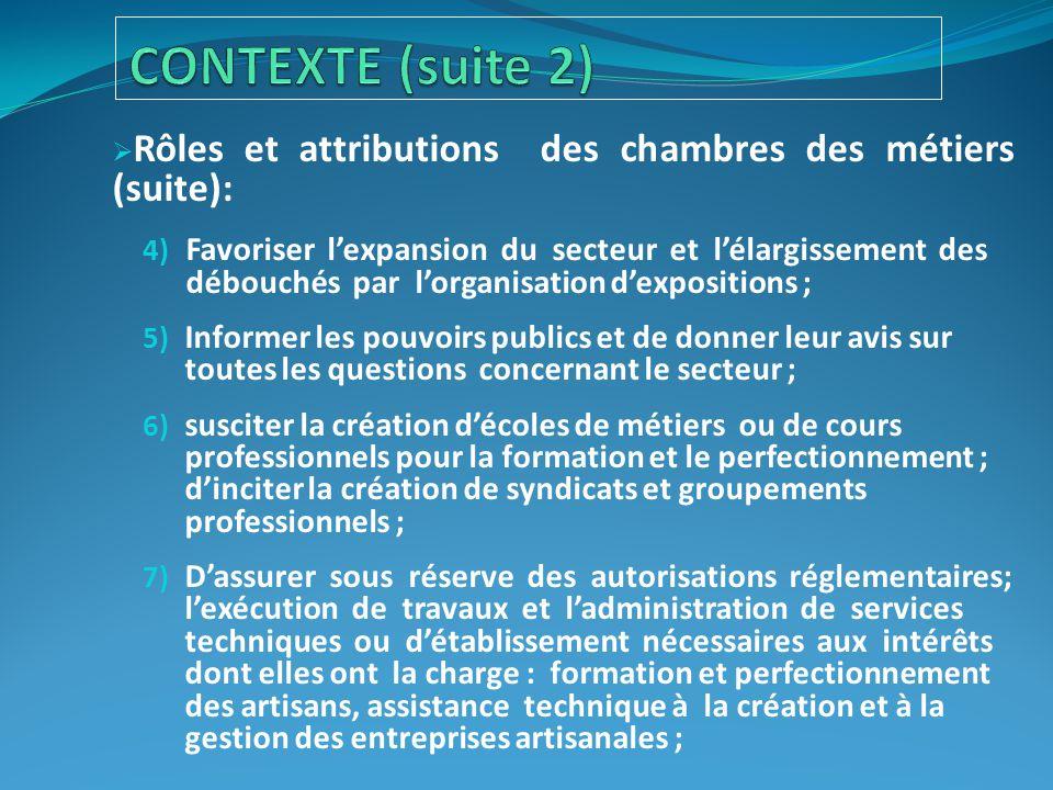  Rôles et attributions des chambres des métiers (suite): 4) Favoriser l'expansion du secteur et l'élargissement des débouchés par l'organisation d'ex