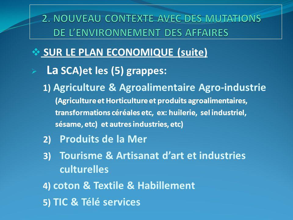  SUR LE PLAN ECONOMIQUE (suite)  La SCA)et les (5) grappes: 1) Agriculture & Agroalimentaire Agro-industrie (Agriculture et Horticulture et produits agroalimentaires, transformations céréales etc, ex: huilerie, sel industriel, sésame, etc) et autres industries, etc) 2) Produits de la Mer 3) Tourisme & Artisanat d'art et industries culturelles 4) coton & Textile & Habillement 5) TIC & Télé services