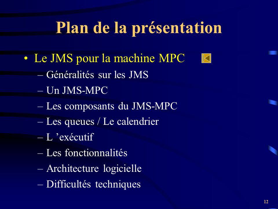12 Plan de la présentation Le JMS pour la machine MPC –Généralités sur les JMS –Un JMS-MPC –Les composants du JMS-MPC –Les queues / Le calendrier –L '