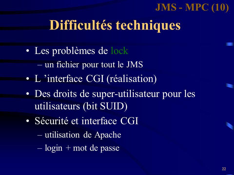 22 Difficultés techniques Les problèmes de lock –un fichier pour tout le JMS L 'interface CGI (réalisation) Des droits de super-utilisateur pour les u
